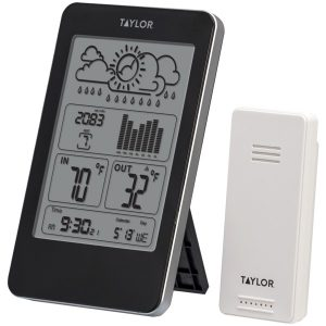 Taylor Precision Products 1733 Indoor/Outdoor Digital Thermometer with Barometer & Timer