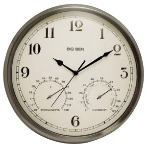 Westclox 49832 Indoor/Outdoor Clock with Temperature & Humidity Gauges