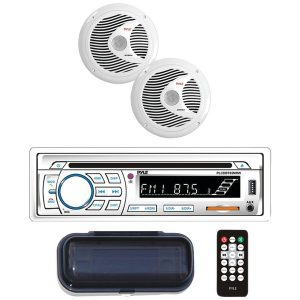 "Pyle PLCDBT65MRW Marine Single-DIN In-Dash CD AM/FM Receiver with Two 6.5"" Speakers"