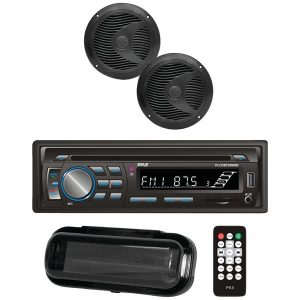 "Pyle PLCDBT75MRB Marine Single-DIN In-Dash CD AM/FM Receiver with Two 6.5"" Speakers"