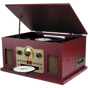 SYLVANIA SRCD838 Nostalgia 5-in-1 Turntable/CD/Radio/Cassette Player with Auxiliary Input