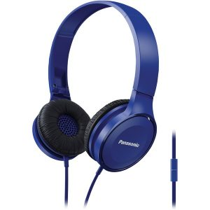 Panasonic RP-HF100M-A Lightweight On-Ear Headphones with Microphone (Blue)