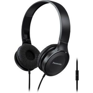 Panasonic RP-HF100M-K Lightweight On-Ear Headphones with Microphone (Black)