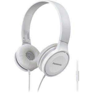 Panasonic RP-HF100M-W Lightweight On-Ear Headphones with Microphone (White)
