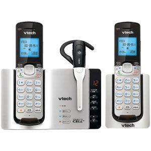 VTech DS6671-3 DECT 6.0 Connect-to-Cell 2-Handset Phone System with Cordless Headset