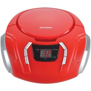 SYLVANIA SRCD261-B-RED Portable CD Player with AM/FM Radio (Red)