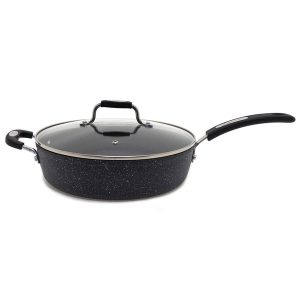 """THE ROCK(TM) BY STARFRIT(R) 060705-002-0000 THE ROCK by Starfrit 11"""" Deep-Fry Pan with Lid & Bakelite Handles"""