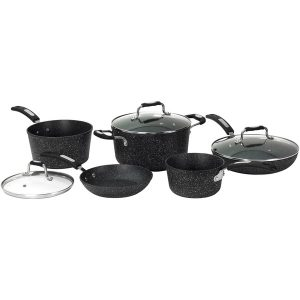 THE ROCK(TM) BY STARFRIT(R) 030930-001-0000 THE ROCK by Starfrit 8-Piece Cookware Set with Bakelite Handles