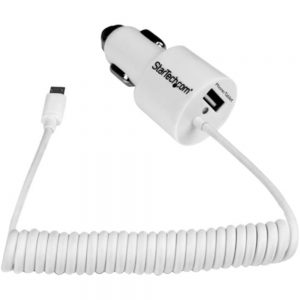 StarTech.com White Dual Port Car Charger with Micro USB Cable and USB 2.0 Port - High Power (21 Watt / 4.2 Amp) - 21 W Output Power - 12 V DC