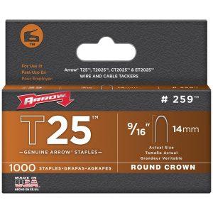 Arrow 259 T25 Round Crown Staples