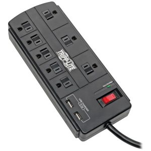 Tripp Lite TLP88USBB Protect It! 8-Outlet Surge Protector with 2 USB Ports