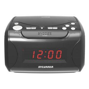 SYLVANIA SCR4986 USB-Charging CD Dual Alarm Clock Radio