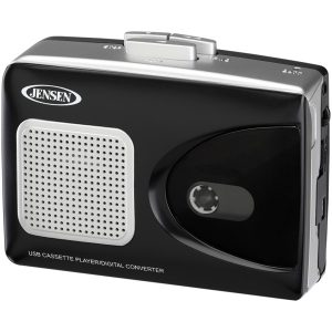JENSEN SCR-90 Stereo USB Cassette Player with Built-in Speaker and Encoding to Computer