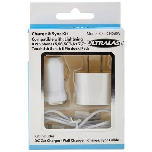 Ultralast CEL-CHG8W Charge & Sync Kit with Lightning to USB Cable (White)