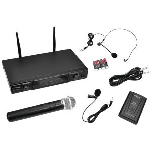 Pyle Pro PDWM2115 VHF Dual-Channel Wireless Microphone Receiver System with Independent Volume Control