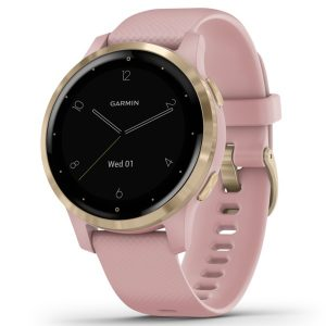Garmin 010-02172-31 vivoactive 4S GPS Smartwatch (Light Gold Stainless Steel Bezel with Dust Rose Case and Silicone Band)