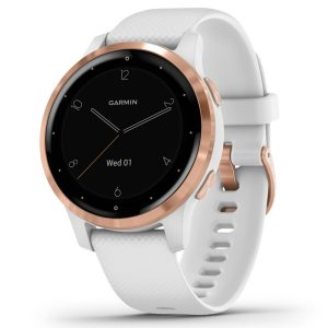 Garmin 010-02172-21 vivoactive 4S GPS Smartwatch (Rose Gold Stainless Steel Bezel with White Case and Silicone Band)