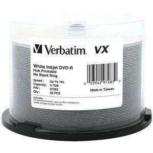 Verbatim 97283 4.7GB 120-Minute 16x VX Hub Inkjet Printable DVD-Rs