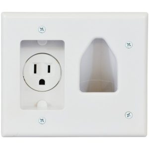 DataComm Electronics 45-0021-WH 2-Gang Recessed Low-Voltage Cable Plate with Recessed Power (White)