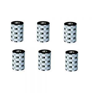 Zebra Genuine 03200BK13145 5.16x1476' Black Wax-Resin Ribbon Pack of 6