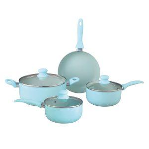 Brentwood Appliances BPS-207BL 7-Piece Aluminum Non-Stick Cookware Set (Blue)