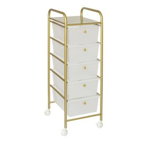 Honey-Can-Do CRT-08895 5-Drawer Rolling Storage Cart with Plastic Drawers