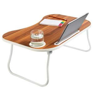 Honey-Can-Do TBL-08956 Folding Lap Desk (White/Faux Walnut)
