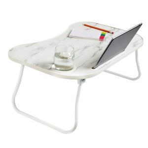 Honey-Can-Do TBL-08957 Folding Lap Desk (White/Faux White Marble)