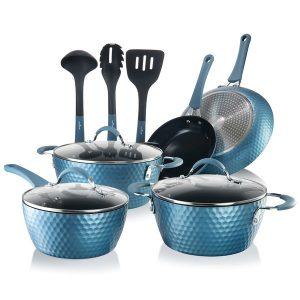 NutriChef NCCW11BD Diamond Home Kitchen Cookware Set (Blue)