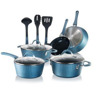 NutriChef NCCW11BL 11-Piece Lines Kitchenware Pots and Pans Set (Blue)