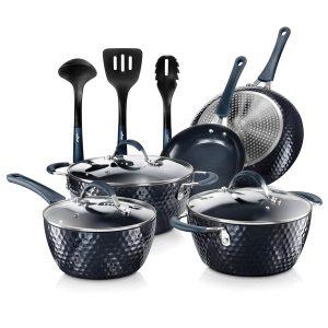 NutriChef NCCW11DS Diamond Home Kitchen Cookware Set (Dark Blue)