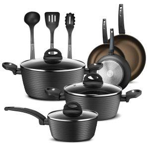 NutriChef NCCW12S 12-Piece Nonstick Kitchen Cookware Set