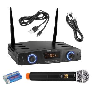 Pyle PDWM1980 Compact UHF Pro Wireless Microphone System with Handheld Microphone
