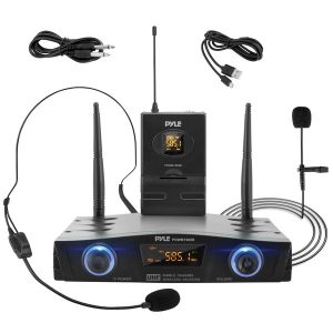 Pyle PDWM1988B Compact UHF Pro Wireless Microphone System with Headset and Lavalier Microphones and Belt-Pack Transmitter