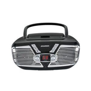 SYLVANIA SRCD211-BLACK Retro Portable CD Radio Boombox (Black)