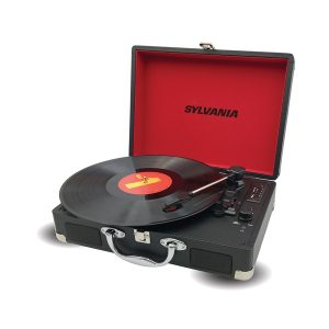 SYLVANIA STT104BT-BLACK Bluetooth Portable USB Suitcase Turntable