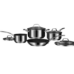 Starfrit 030203-001-0000 THE ROCK by Starfrit Stainless Steel Non-Stick 8-Piece Cookware Set with Stainless Steel Handles