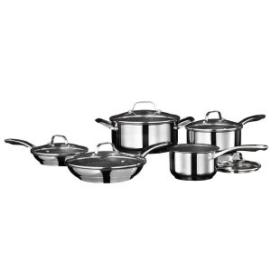 Starfrit 034611-001-0000 Stainless Steel Non-Stick 10-Piece Cookware Set with Stainless Steel Handles