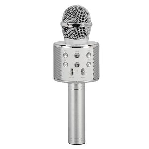 Supersonic SC-904BTK- Silver Wireless Bluetooth Microphone with Built-in Hi-Fi Speaker (Silver)