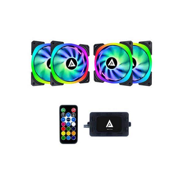 APEVIA LP412L-RGB LUNAR PRO 120MM SILENT DUAL RING ADDRESSABLE RGB COLOR CHANGING LED FAN (4-PK)