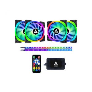 APEVIA LP412L2S-RGB LUNAR PRO 120MM SILENT ADDRESSABLE RGB COLOR CHANGING LED FAN + 2 COLOR CHANGING MAGNETIC LED STRIPS (4+2-PK)