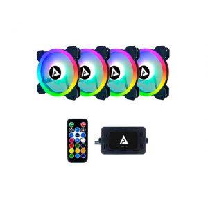 APEVIA TL412L-RGB TWILIGHT 120MM SILENT DUAL RING ADDRESSABLE RGB COLOR CHANGING LED FAN (4-PK)