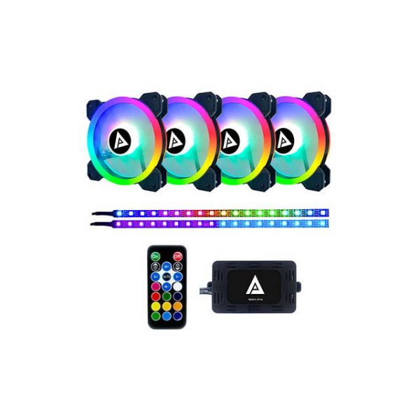 APEVIA TL412L2S-RGB TWILIGHT 120MM SILENT ADDRESSABLE RGB COLOR CHANGING LED FAN + 2 COLOR CHANGING MAGNETIC LED STRIPS (4+2-PK)