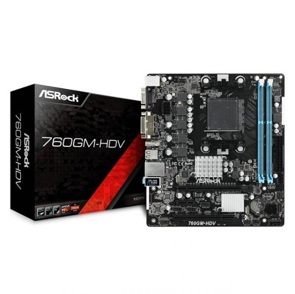 ASROCK 760GM-HDV Socket AM3+/AM3/ AMD 760G/ DDR3/ SATA2&USB2.0/ A&V&GbE/ MicroATX Motherboard