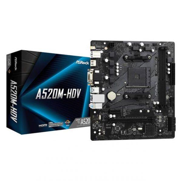 ASROCK A520M-HDV Socket AM4/ AMD A520/ DDR4/ SATA3&USB3.2/ M.2/ Micro ATX Motherboard