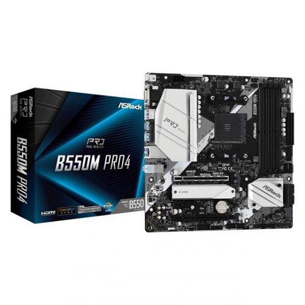 ASROCK B550M PRO4 Socket AM4/ AMD B550/ DDR4/ Quad CrossFireX/ SATA3&USB3.2/ M.2/ Micro ATX Motherboard
