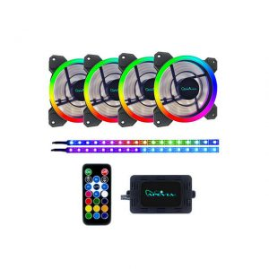Apevia SP412L2S-RGB Spectra 120mm Silent Dual Ring Addressable RGB Color Changing LED Fan + 2 Color Changing Magnetic LED Strips (4+2-pk)