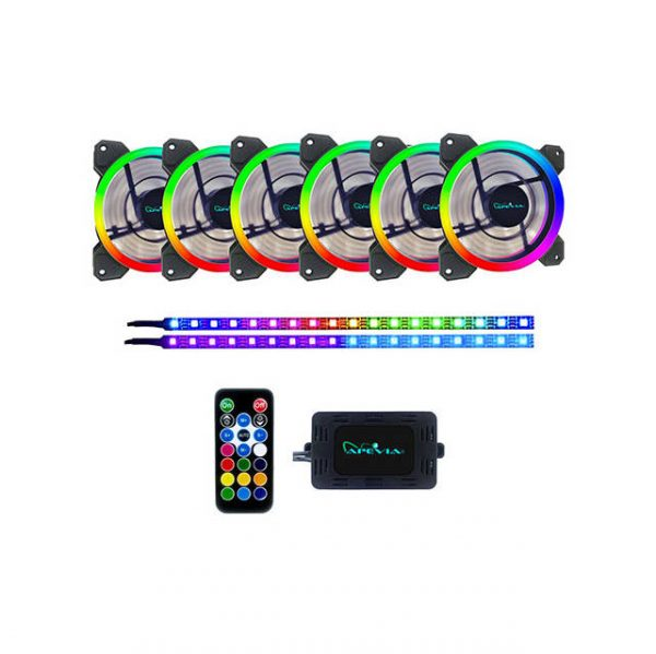 Apevia SP612L2S-RGB Spectra 120mm Silent Dual Ring Addressable RGB Color Changing LED Fan + 2 Color Changing Magnetic LED Strips (6+2-pk)