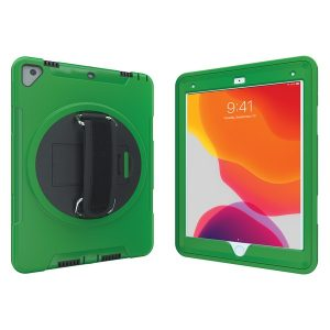 CTA Digital PAD-PCGK10G Protective Case with Built-in 360? Rotatable Grip Kickstand for iPad (Green)