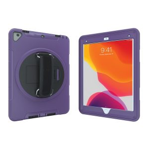 CTA Digital PAD-PCGK10P Protective Case with Built-in 360? Rotatable Grip Kickstand for iPad (Purple)